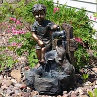 Sunnydaze Boy & Puppy Filling Bucket at Water Pipe Outdoor Fountain 22 Inch
