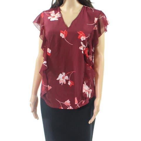 Lauren by Ralph Lauren Red Womens Size 1X Plus Floral Print Blouse