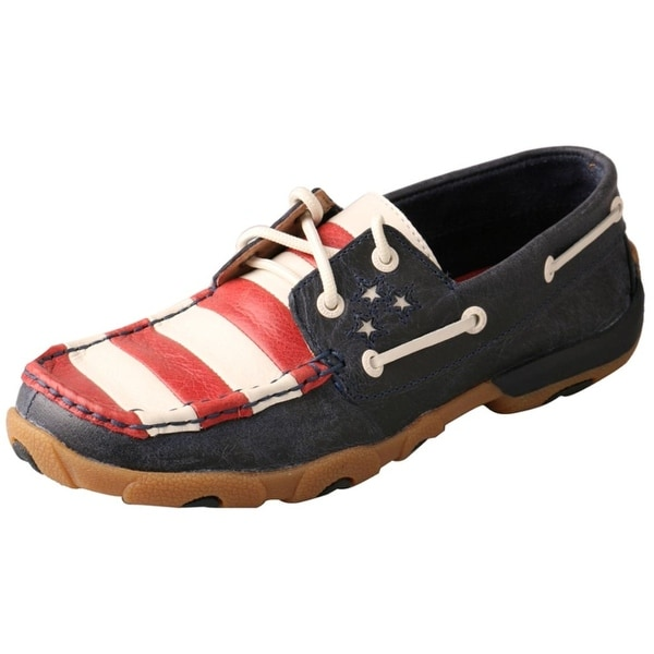 Twisted X Casual Shoes Women Driving Moc Stars Blue Red White