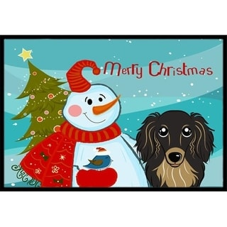 Carolines Treasures BB1833JMAT Snowman With Longhair Black And Tan Dachshund Indoor & Outdoor Mat 24 x 36 in.