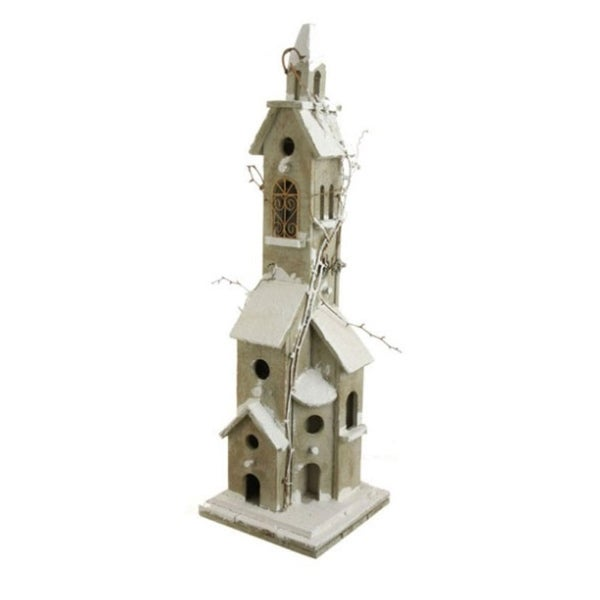 """30"""" Lighted Weathered Vine Accented Birdhouse Table Top Christmas Decoration"""