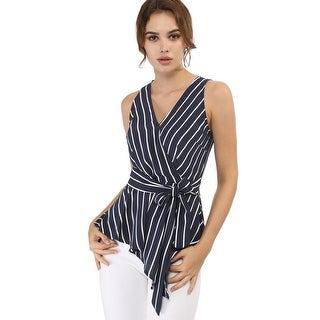 Women's Striped Sleeveless V Neck Wrap Tie Waist Top