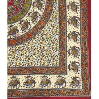 Handmade 100% Cotton Elephant Mandala Throw Tablecloth Bedspread Beach Sheet Dorm Essential Red Full 84x94