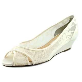 Nina Rigby Women Open Toe Canvas Ivory Wedge Heel