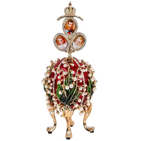 """Imperial Faberge Egg Lilies of the Valley w/ Portraits Surprise in Red - Large - 10.2"""""""