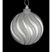 "6ct Matte Silver Splendor Swirl Shatterproof Christmas Disc Ornaments 6.25"""