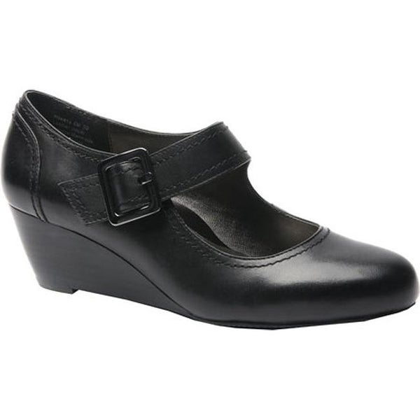 87419445c6e Shop Ros Hommerson Women s Havana Mary Jane Wedge Black Leather - On Sale -  Free Shipping Today - Overstock - 12309949