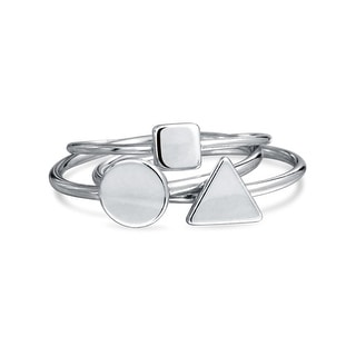 Bling Jewelry Sterling Silver Midi Ring Modern Shapes Stackable Rings Set