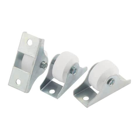 3Pcs 0.9 Diameter White Plastic Wheel Rectangle Mount Plate Swivel Caster