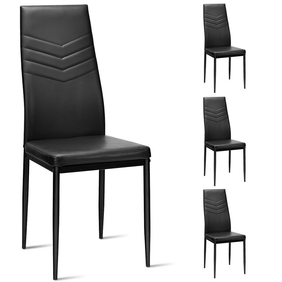 Gymax Set of 4 PVC Dining Side Chairs with Metal Frame High Back Home Kitchen Black