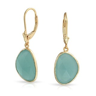 Dangle Leverback Earrings Simulated Chalcedony Faceted Stone Bezel set in Gold Plated 925 Silver
