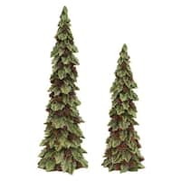 "Set of 2 Glittered Holly Trees with Pines Cones Christmas Table Top Decorations 19"" - green"
