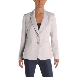 Tahari ASL Womens Petites Two-Button Blazer Crosshatch Textured