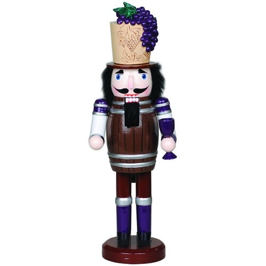 """14.5"""" Tuscan Wine Barrel Wooden Christmas Nutcracker with Cork and Grapes Hat - brown"""