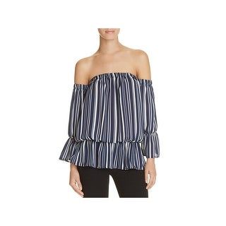 Vintage Havana Womens Peplum Top Off-The-Shoulder Striped