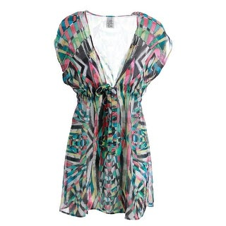 Becca Womens Chiffon Printed Dress Swim Cover-Up - m/l