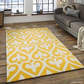 "AllStar Rugs Canary Hand Made Modern Transitional Floral Design Area Rug with Dimensional Hand-Carving Highlights (7' x 10' 2"")"
