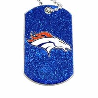Denver Broncos Dog Fan Tag Glitter Sparkle Necklace