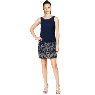 Adrianna Papell Beaded Blouson Sleeveless Cocktail Dress - 16