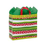 "Pack Of 150, Metro 13 X 6 X 12"" Christmas Celebration Stripe 3 Mil Hdpe Plastic Shopping Bags W/6 Mil Soft Loop Handle"