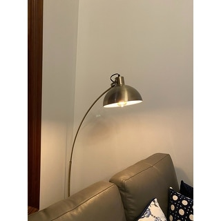 """Archiology Modern Arched Floor Lamp 63"""" With Gold Shade"""