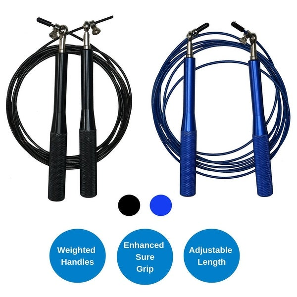 Weighted Jump Rope with Adjustable Steel Wire Cable - Best for Speed Jumping and Double Unders. Opens flyout.