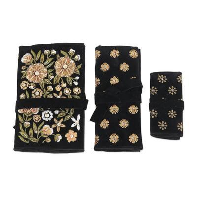 Novica Handmade Floral Saga Embroidered Jewelry Rolls (Set Of 3)