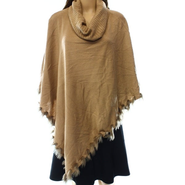 fe1deb2af0a Shop Alfani NEW Brown Camel Women s Size S M Faux-Fur-Trim Poncho Sweater -  Free Shipping On Orders Over  45 - Overstock - 17631389