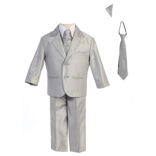 Little Boys Silver Two-button Metallic Special Occasion Suit 2-7