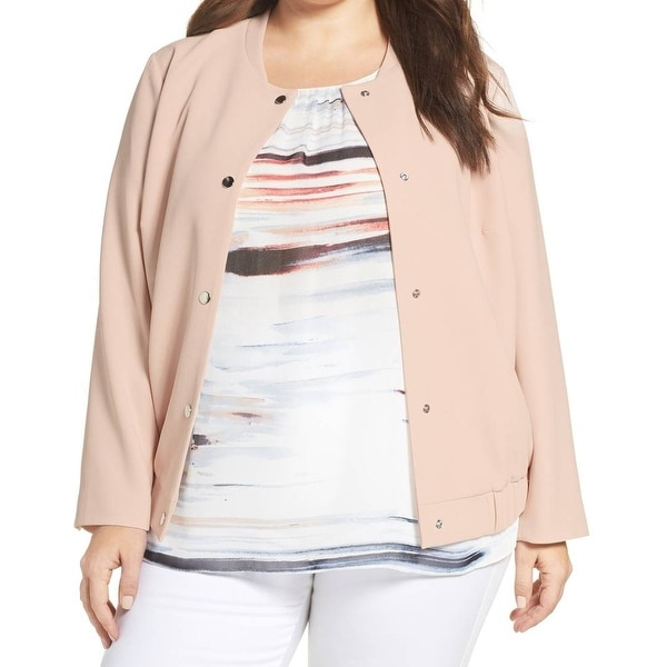 Vince Camuto Pink Women's Size 2X Plus Snap Button Bomber Jacket