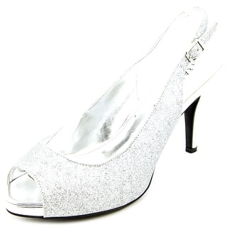 Rampage Fasher Women  Peep-Toe Canvas Silver Slingback Heel