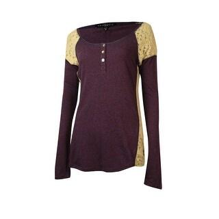 Sanctuary Women's Lace Inset Long Sleeve Top - port/nite - m