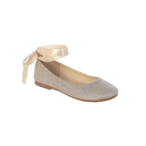 Girls Rose Gold Glitter Ribbon Ankle Ties Ballerina Shoes