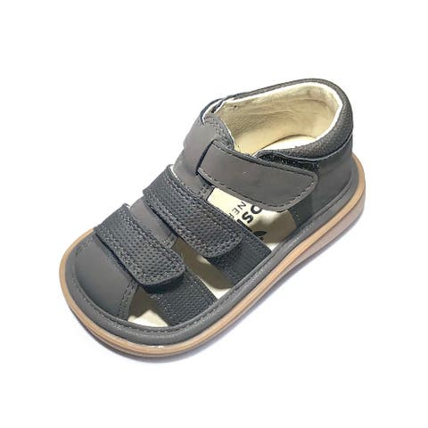 Mooshu Trainers Little Boys Charcoal Squeaky Henry Strap Sandals 7 Toddler - 7 Toddler