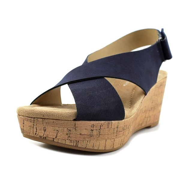 CL By Laundry Dream Girl Women Open Toe Synthetic Blue Wedge Sandal