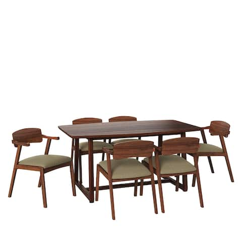 Carson Carrington Comiskey 7-piece Mid Century Modern Espresso Wood Dining Table and Arm Chairs