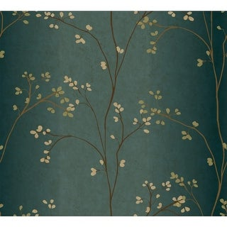 York Wallcoverings BR6224 Blue Book Vertical Blossoms Wallpaper - N/A