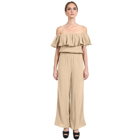NE PEOPLE Women's Sexy Off The Shoulder Ruffle Wide Leg Long Pants Jumpsuits
