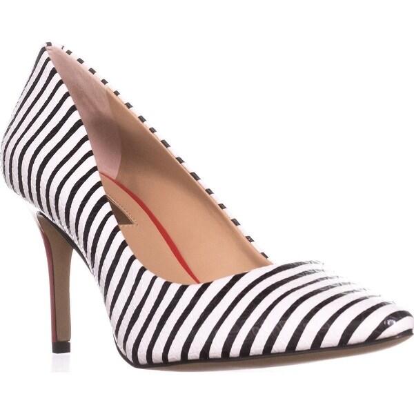 I35 Zitah5 Pointed-Toe Heels, Stripe White/Black