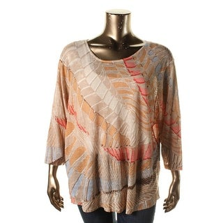 Nic + Zoe Womens Plus Linen Printed Pullover Top