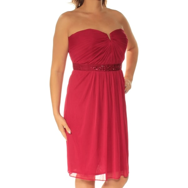 ADRIANNA PAPELL Womens Red Strapless Above