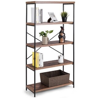 Costway Multipurpose Open Bookcase Industrial Shelf Display Rack Storage Organizer