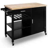 BELLEZE Wood Top Multi-Storage Cabinet Rolling Kitchen Island Table Cart with Wheels - Black