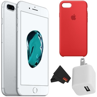 Apple iPhone 7 256GB - Silver Unlocked with Accessory Kit red case