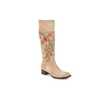 Car Shoe By Prada Beige Suede Floral Embroidered Tall Boots