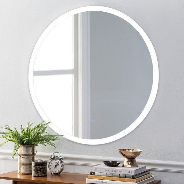 Costway 24'' LED Mirror Illuminated Light Wall Mount Bathroom Round Make Up Touch Button - as pic