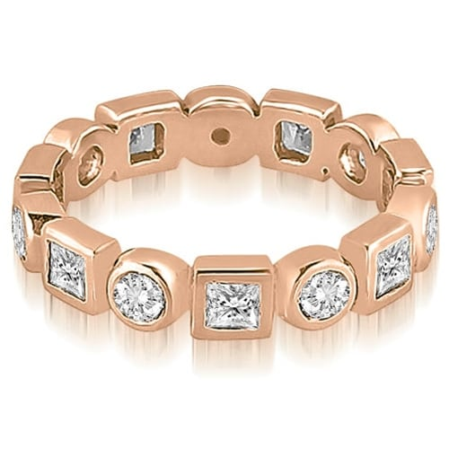 1.12 cttw. 14K Rose Gold Princess and Round Diamond Eternity Ring