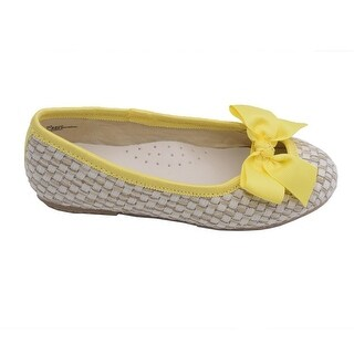 L'Amour Little Girls Yellow Faux Straw Bow Fashion Flats 11-4 Kids