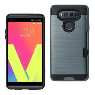 REIKO LG V20 SLIM ARMOR HYBRID CASE WITH CARD HOLDER IN GRAY