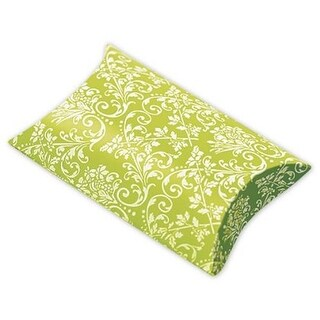 1 x 3 x 3.5 in. Damask Favor Pillow Boxes, Lime & White